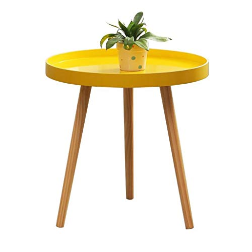 Sofa Side Snack Table End Table Solid Wood Round Small Coffee Tea Table, Simple Living Room Couch Table, Bedroom Balcony Reading Table, 50 * 50 cm Living Room Furniture
