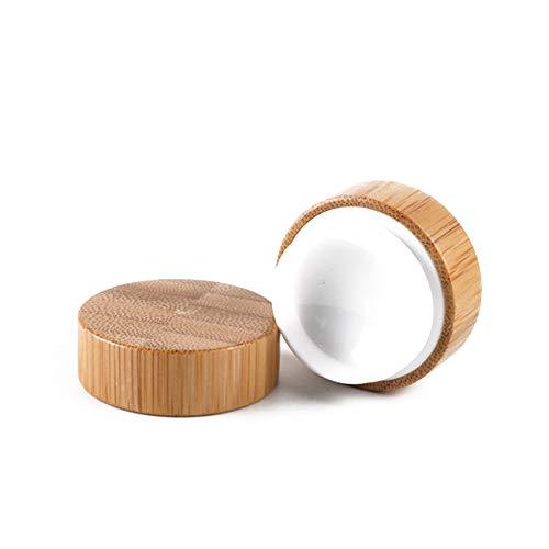 2pcs Bamboo cosmétiques Crème Voyage Contenant rond en bambou Bouteille vide de stockage pot de crème cosmétique Rechargeables 10g 2pcs