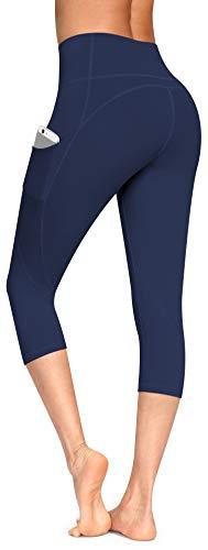 Lingswallow Yogahose mit hoher Taille, Yoga-Caprihose mit Taschen, 4-Wege-Stretch, Bauchkontrolle, Capri-Workout-Leggings für Frauen - Blau - Groß