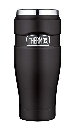 THERMOS Thermobecher Stainless King, Kaffeebecher to go Edelstahl schwarz 470ml, Isolierbecher spülmaschinenfest, dicht, 4002.232.047, Coffee to Go 7 Stunden heiß, 18 Stunden kalt, BPA-Free