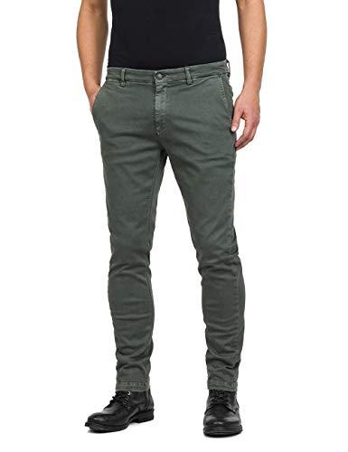 Replay Herren Zeumar Slim Jeans, Grün (Military Green 30), W33 / L32