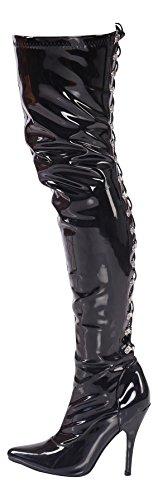 Overknee High Heels mit Schnürung schwarz, rot Gr 36-46 (Schnürung hinten, 45)