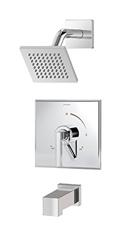 Symmons S-3602-SH4-T4 Duro Single-Handle 1-Spray Tub and Shower Faucet with Square Showerhead and Volume Control in Chrome