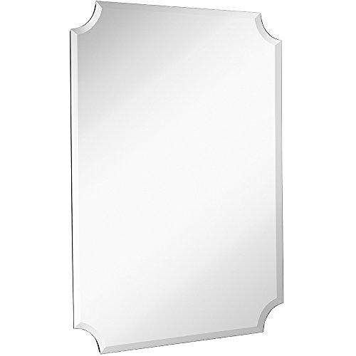 Hamilton Hills Large Beveled Scalloped Edge Rectangular Wall Mirror 1 inch Bevel Curved Corners Rectangle Mirrored Glass Panel for Vanity or Bathroom Hangs Horizontal & Vertical Frameless (30' x 40')