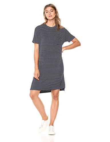 Amazon Brand - Daily Ritual Women's Jersey Short-Sleeve Crewneck Boxy Pocket T-Shirt Dress, Navy/White
