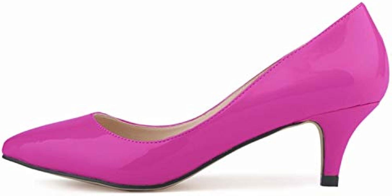 FLYRCX Einfacher Temperament der Frühlings- und Herbstmode Flacher Mund spitzte hohe Absatz-Damenbüro-Arbeitsschuhe Einzelne Schuhe