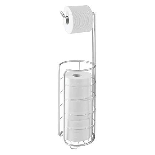 mDesign Toilettenpapierhalter ohne Bohren - Klorollenhalter fürs Badezimmer - Farbe: Silber - Papierrollenhalter für Ihr Bad