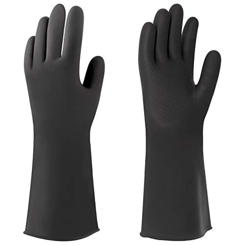MHDMAG Chemical Resistant Gloves Fishing Magnet Gloves WaterProof with Heavy Duty Latex, Protective Work gloves for Cleaning, Industrial Work, Car Repair, Chemical Industry, Magnetic Fishing, Black