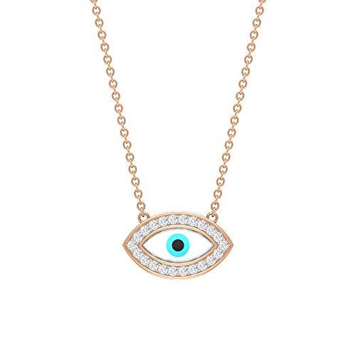 HI-SI Collar de ojo maligno de diamante, colgante de oro, joyería del mal de ojo, collar minimalista