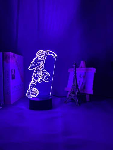 Luz nocturna 3D de anime capitán figura led luz de noche para decoración de la habitación del hogar luz nocturna algo sobre el fútbol regalo mesa lámpara 3D ZGLQ