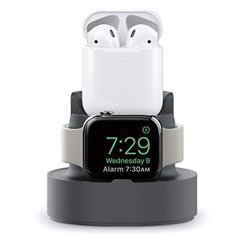 Charging Stand for Apple Watch Series 5/4/3/2/1 44mm/42mm/ 40mm/38mm,Charging Dock with Nightstand Mode,iPhone 11 Pro Max/Xs Max/8/7 Plus Stand Charger,AirPods 2 1 Charging Station Holder (Gray)