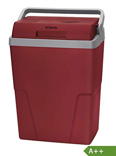 Bomann KB 6011 CB Kühlbox ECOSAVE // Ideal für Camping, Reise und Einkauf // 12 Volt und 230 Volt-Anschlusskabel // kühlt bis zu 18°C unter Umgebungstemp. // ca. 25 L // rot-grau // A++