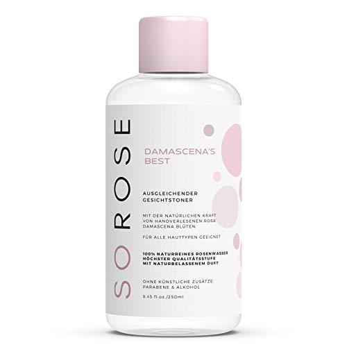 SOROSE Damascena\'s Best I Ausgleichender Gesichtstoner I Toner auf Basis von 100{55a270fc6ea35ce2e1a0b842847b24169d9e4b0c2bff2f0cb3e7d34c2bcb329f} naturreinem Rosenwasser - vegan ohne Parabene, Konservierungsstoffe, Silikone und Farbstoffe I Rose Water
