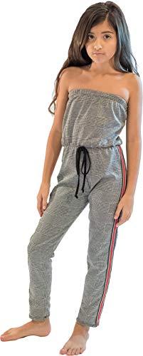 Cheryl Creations Kids Stripe Side Jumpsuit (Plaid Red/White Stripe, Large 14)