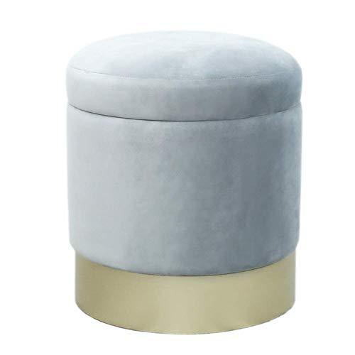 YLCJ krukken Voetbank Eenvoudige kruk Multifunctionele ronde kruk Sofa kruk Make-up kruk (Kleur: grijs, Afmetingen: gouden voeten) Champagne feet Grijs