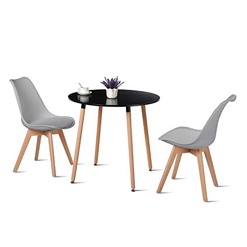 H.J WeDoo Essgruppe Esszimmertisch Esstisch Set 1 MDF Schwarz + 2 Modern Grau Esszimmerstühle, für Küche Esszimmer Konferenzzimmer