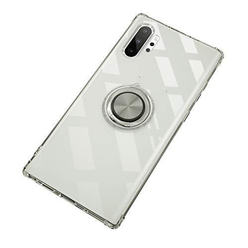 Carcasa para Samsung Galaxy Note 10+, transparente y líquido, de silicona TPU, con anillo de dedo 360°, funda magnética (Note 10, transparente)