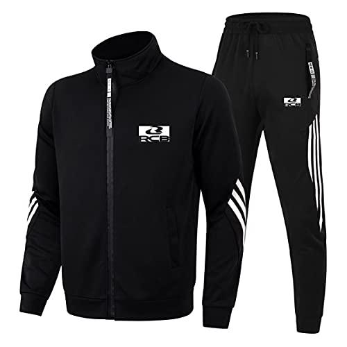 Cuello alto Tres Barras Ropa Deportiva Trajes Racing-Boy para Hombre/Mujer Casual Chándal Zip Cardigan Chaquetas y Pantalones