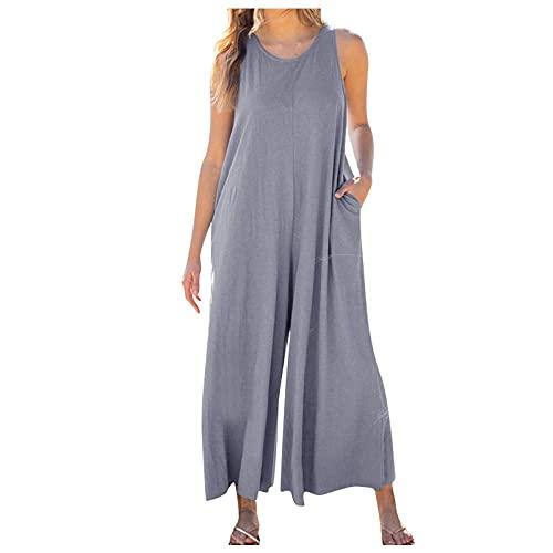 Mono largo para mujer, cómodo, monocromático, sin mangas, con bolsillos, con pernera ancha, suelto, para el tiempo libre, largo y ligero para el hogar gris XL