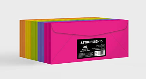 Astrobrights Color #10 Envelopes, 4.125' x 9.5', 24 lb/89 gsm, 'Happy' 5-Color Assortment, 200 Pack (92109)