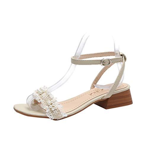 Sandalias de Mujer Moda con Cuentas Romanas Decoración Color sólido PU Correa de Tobillo Bloque Tacón Antideslizante Espalda Abierta Verano Casual Señoras Sandalias Peep Toe