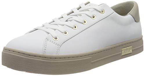 Armani Exchange Mina Cupsole Premium Low Top, Sneaker Mujer, O.Wht+Stone, 37 EU