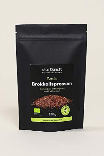 STARTKRAFT 100% Bio Brokkolisprossen gekeimt - 250g vegan glutenfrei - Als Topping für Müsli, herzhafte Salate oder für eine leckere Pflanzenmilch - luftgetrocknet bei 40°C