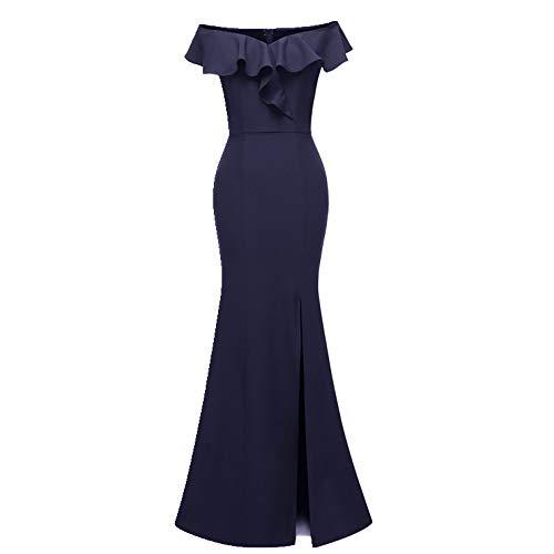 NOBRAND Damen Slim Schulter Langes Kleid Brautjungfer Gruppe leichtes Kleid Partykleid Gr. M, blau
