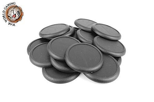 War World Gaming - Peanas Redondas de plástico 50mm con Labio (Elige cantidad) - Wargames Históricos, Wargaming, Base, Escenografía, Miniaturas, Dioramas, Figuras, RPG