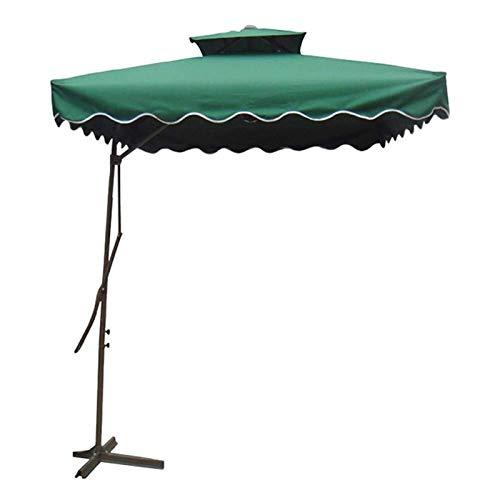 joyvio Parasol Cuadrado Roma Offset De 2,2 M, Parasol Colgante En Voladizo De Doble Capa con Base Cruzada para Jardín, Terraza, Patio Trasero Y Piscina (Color : Green)