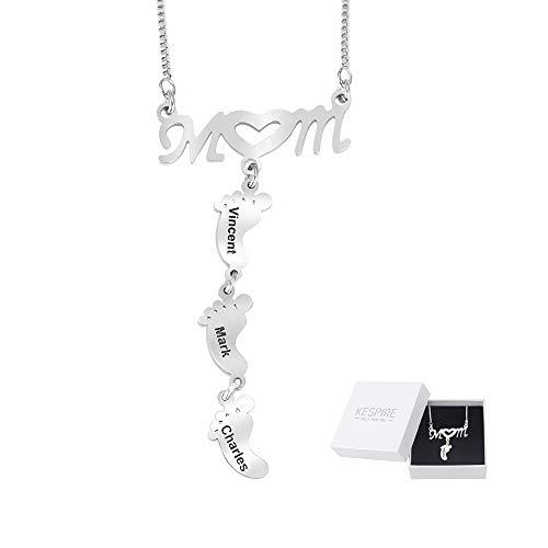 Collar con colgante de mamá personalizado con nombre de niño Collar con colgante de pies de bebé grabado Collar de corazón de diamante Regalo de joyería para mamá Madre