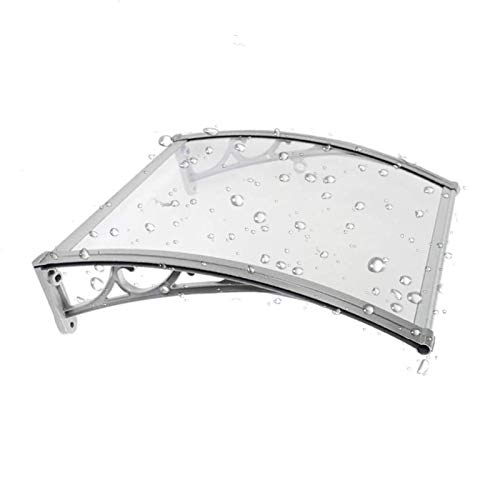 Door Canopy Tinted Curved Window Polycarbonate Awning Shelter, Outdoor Cover Rain Shelter Protects From Sun, Rain, Sleet Or Snow For Front Door Porch (Color : Clear, Size : 80x100cm)