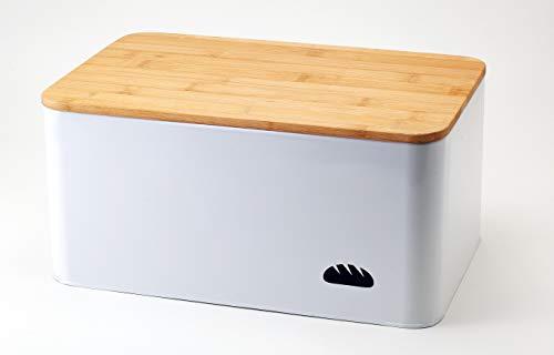 Hanseküche Brotkasten mit Bambus Schneidebrett - Brotbox aus Metall mit viel Platz und Holzdeckel - Brotbehälter, Brotdose (L) - 33 x 21 x 15cm