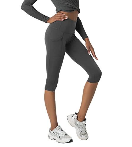 LAPASA Pantalones Leggings 3/4 Capris Mujer Mallas Deportivas con Bolsillo Leggins de Deporte para Yoga Cintura Alta L02B1 M Gris Oscuro