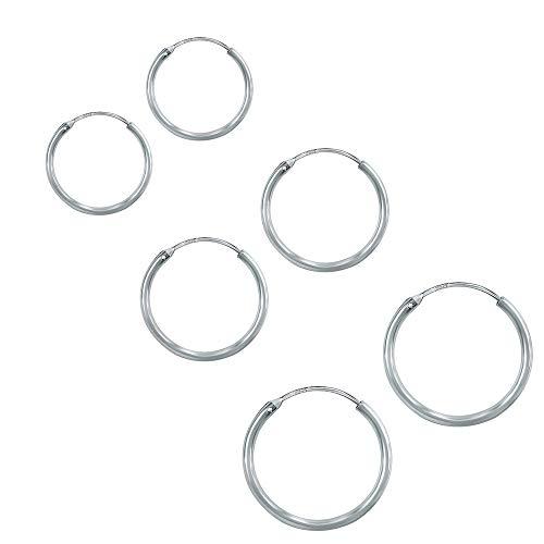 3 Paia Orecchini a Cerchio Argento 925, Inossidabile Cerchio Orecchini Set Orecchio Cerchio Rotondo Set di Anelli Orecchio – Diametro: 12 14 16 mm