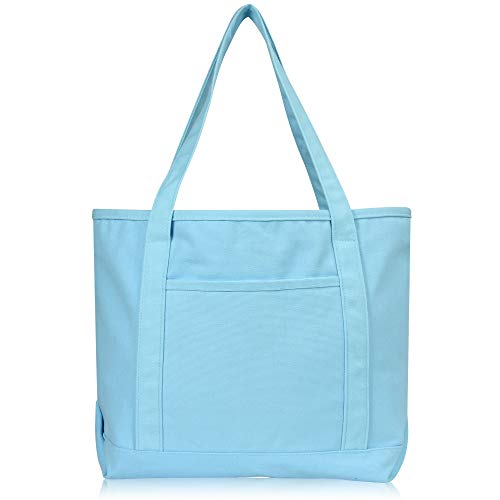 DALIX 20' Solid Color Cotton Canvas Shopping Tote Bag in Light Blue