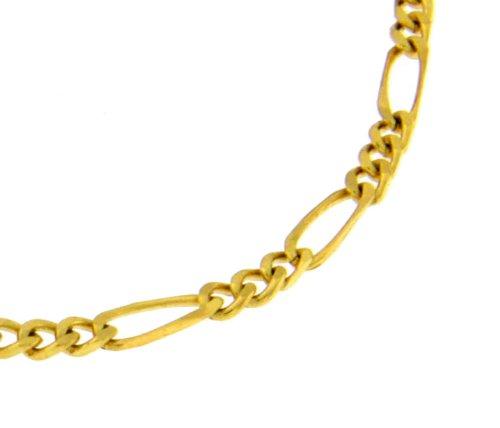 Figarokette Gold Doublé 3,6mm breit, Länge 42cm, Halskette Goldkette Herren-Kette Damen Geschenk Schmuck ab Fabrik Italien tendenze FGY3,6-40