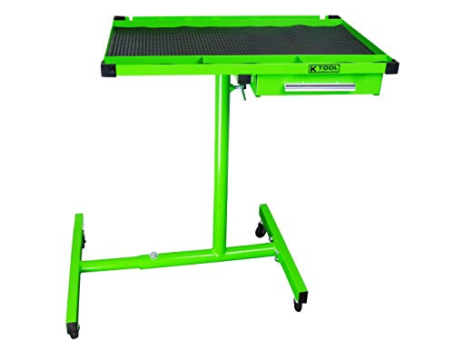 K Tool International Heavy Duty Tear Down Tray and Work Table with Drawer, Portable and Adjustable, 200 Pound Capacity, Rubber Corners, Green KTI79701