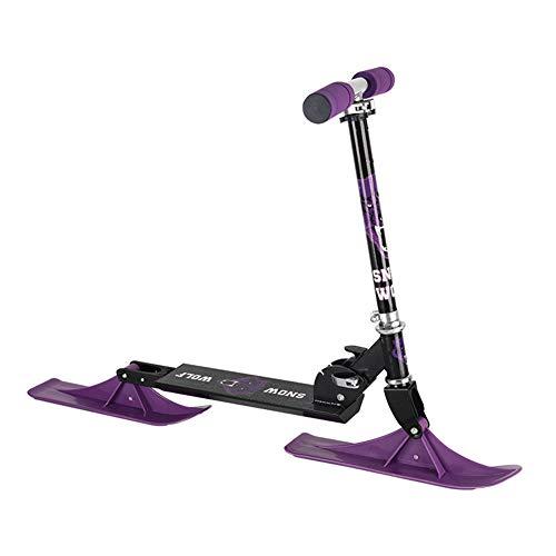 Ski Skooter, Schnee-Schlitten für Kinder, Fold-Up Snowboard Kick-Scooter für den Einsatz auf Schnee & Gras, Winter Spielzeug Lila