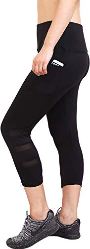 AREO Women's Power Flex Tummy Control Workout Side Mesh Net...