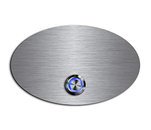 CHRISCK Design - roestvrij stalen deurbel Basic 13x8 cm ovaal met een bel-knop/LED-verlichting en mooie decoratieplaten van acrylglas naamplaat/belplaat