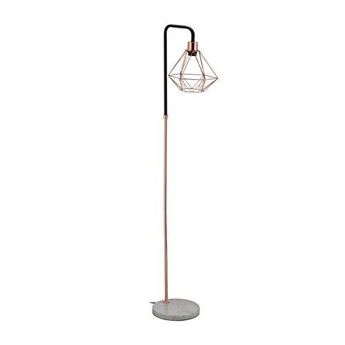 Relaxdays Stehlampe, Schirm in Diamant-Form, Marmorfuß, Wohnzimmer, E27, HxBxT 149 x 24,5 x 29 cm, Kupfer/schwarz/weiß, Stahl