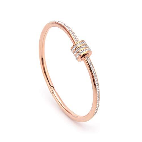 Pulsera de acero de titanio con tachuelas de diamante para mujer, estilo retro Tisco Rose Gold Open Bracelet