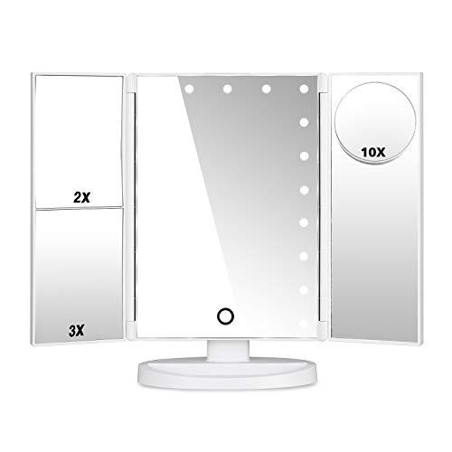 HAMSWAN Espejo de maquillaje con luz, pantalla táctil de espejo retrovisor de belleza LED plegable de 180 grados de rotación, aumento del espejo de 1 x 2 x 3 para mejorar la belleza del hogar