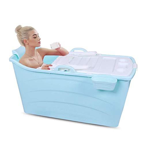 Badewannen GX Klappbare tragbare Freistehende Badezimmer Whirlpool Hot Tubs Bad Eimer oder Erwachsene Lange Isolationszeit 120x58x68cm (Farbe : Pink, Größe : with lid)