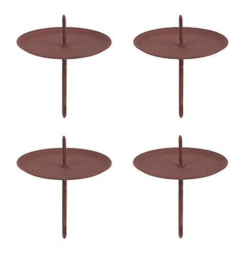 BigDean 4X Kerzenhalter zum Stecken braun Rost-Optik 7x6 cm - Für Teelichter - Für Adventskranz & Gestecke - Aus Metall - Teelichtstecker mit Spiess