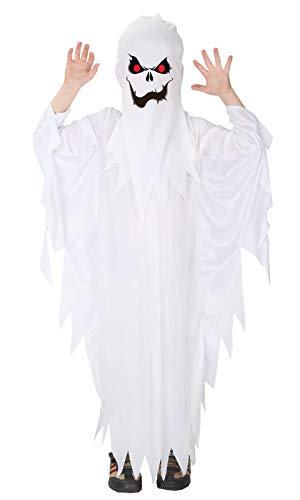 Gift Tower Costume da fantasma per bambini, per carnevale, cosplay, colore bianco, L per 120-130 cm
