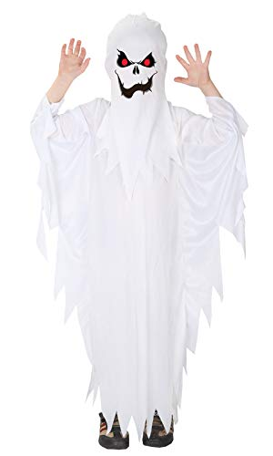 Gift Tower Gespenster Kostüm Kinder Geist Umhang Halloweenkostüm Kinderkostüme für Karneval Fasching Cosplay Weiß M/für 110-120cm