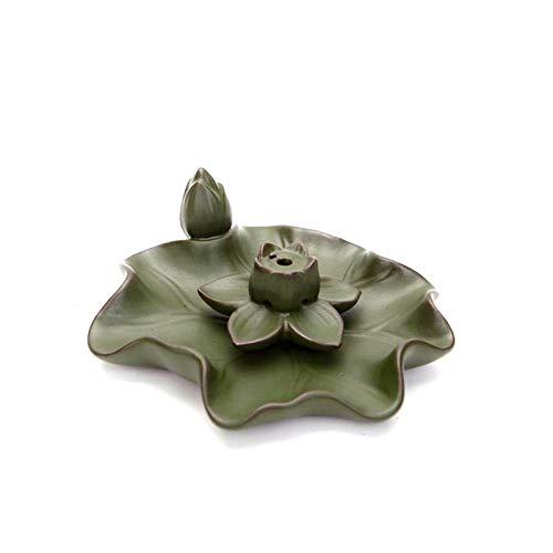 WGGTX Quemador de Incienso Lotus Placa Palo de Incienso Quemador de cerámica Titular de Reflujo Cascada Conos Incensario Horno Craft Zen Inicio Meditación Budista