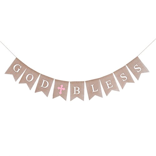 BESTOYARD 2.8M GOD BLESS Letters Bunting Banner Burlap Flags Hanging Garland Baby Shower Birthday Christening Baptism Party Decoration